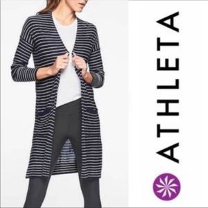 ATHLETA Duster Cardigan Navy & White Striped